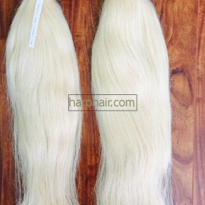 Platinum blonde hair weft